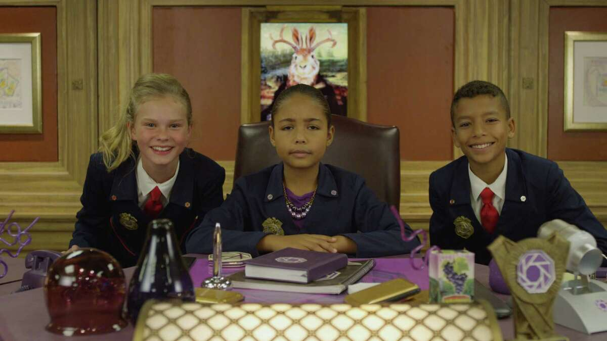 """""""Odd Squad Live!"""" characters that appeared on screen at the Palace Theatre in Stamford on Thursday, Oct. 6."""