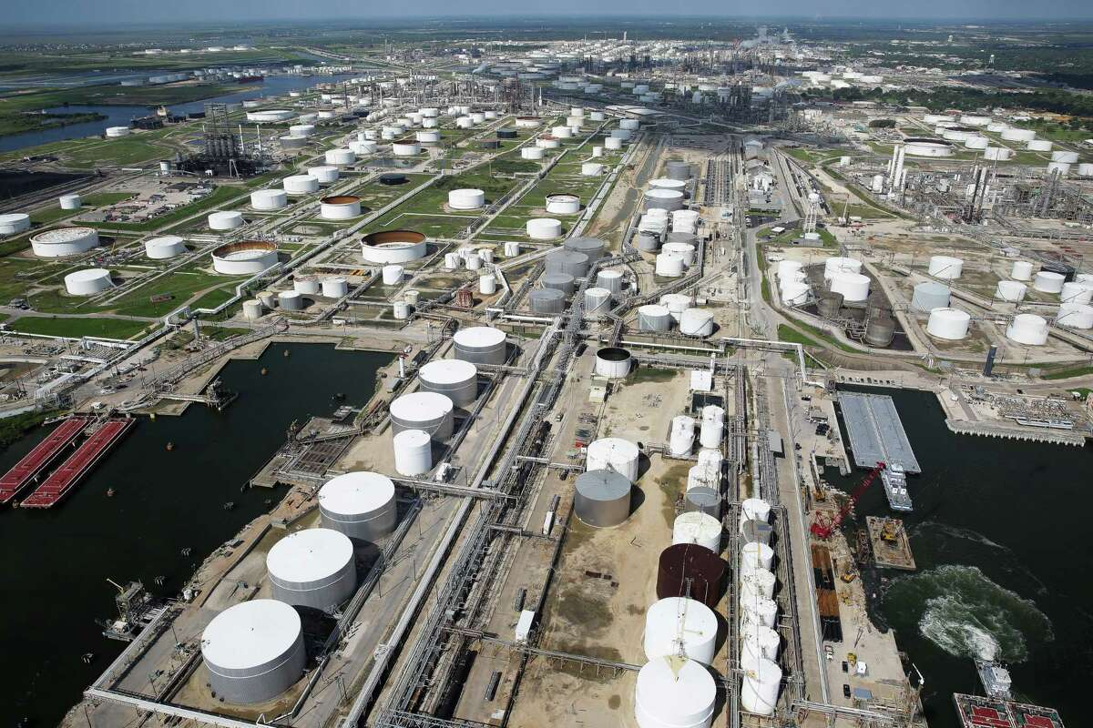 Aerial view of chemical plants and refineries in Texas City on Sept. 7. Experts worry the Houston Ship Channel is extremely vulnerable, should a powerful storm strike Houston.