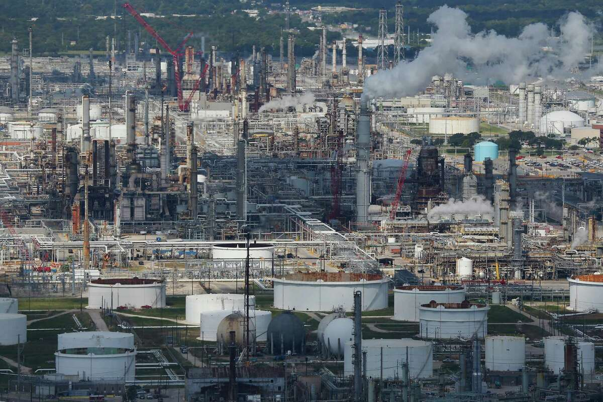 Aerial view of chemical plants and refineries near Houston.