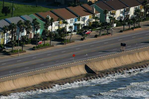 Aerial view of Seawall Boulevard in Galveston on Sept. 7. The seawall protects Galveston from deadly storm surges.