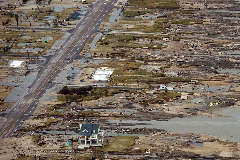 A single house is left standing amidst the devastation left by Hurricane Ike on Sept. 14, 2008, in Gilchrist. Photo: Smiley N. Pool, Staff / Houston Chronicle