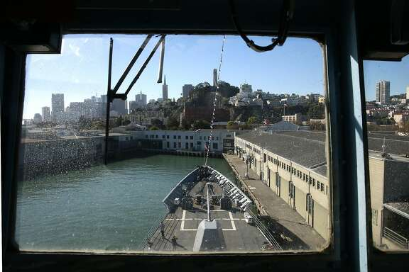 The view from the pilot house aboard the U.S. Mobile Bay a guided missile cruiser as visitors tour the vessel during Fleet Week festivities continue along the Embarcadero on Sat. Oct 8, 2016, in San Francisco, California.