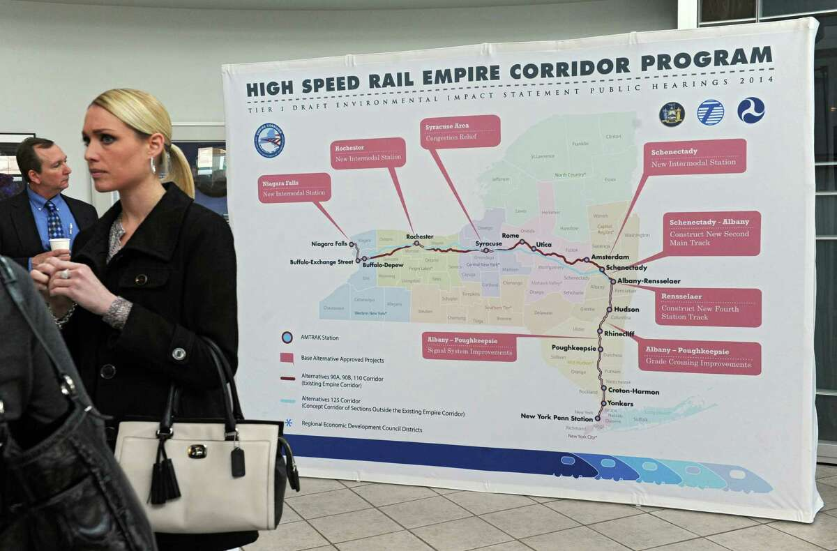 People view displays of five alternatives for high-speed rail on exhibit for the public at CNSE on Tuesday, March 4, 2014 in Albany, N.Y. (Lori Van Buren / Times Union)