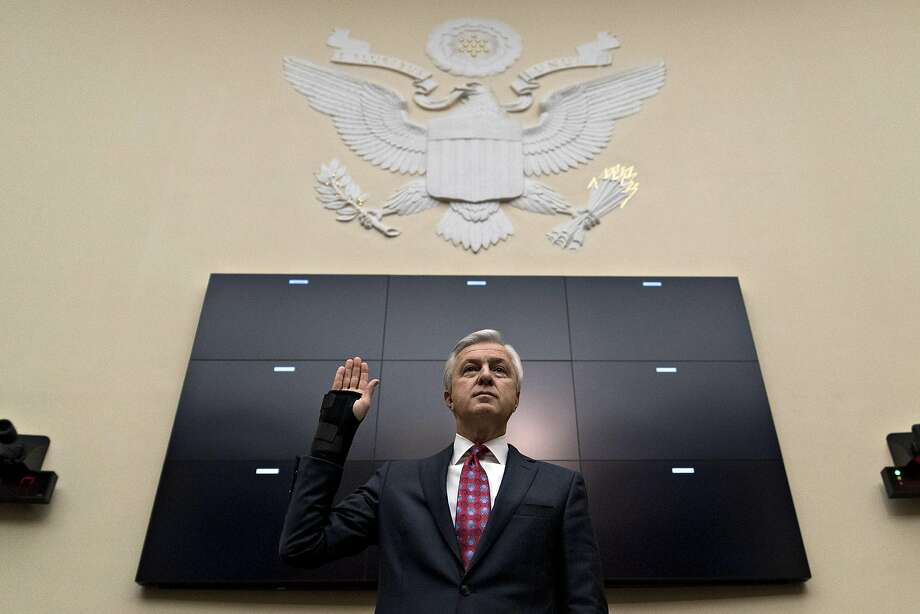 John Stumpf, chief executive officer of Wells Fargo & Co., swears in to a House Financial Services Committee hearing in Washington, D.C., U.S., on Thursday, Sept. 29, 2016. Stumpf, fighting to keep his job amid a national political furor, will forgo more than $41 million of stock and salary as the banks board investigates how employees opened legions of bogus accounts for customers. Photographer: Andrew Harrer/Bloomberg Photo: Andrew Harrer, Bloomberg