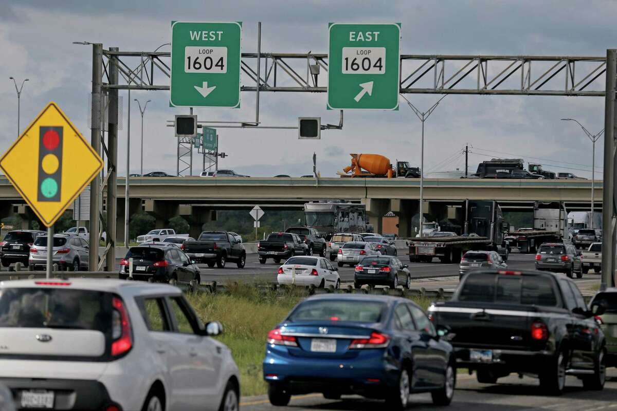 Traffic stacks up on Interstate 10 West at the Loop 1604 interchange.