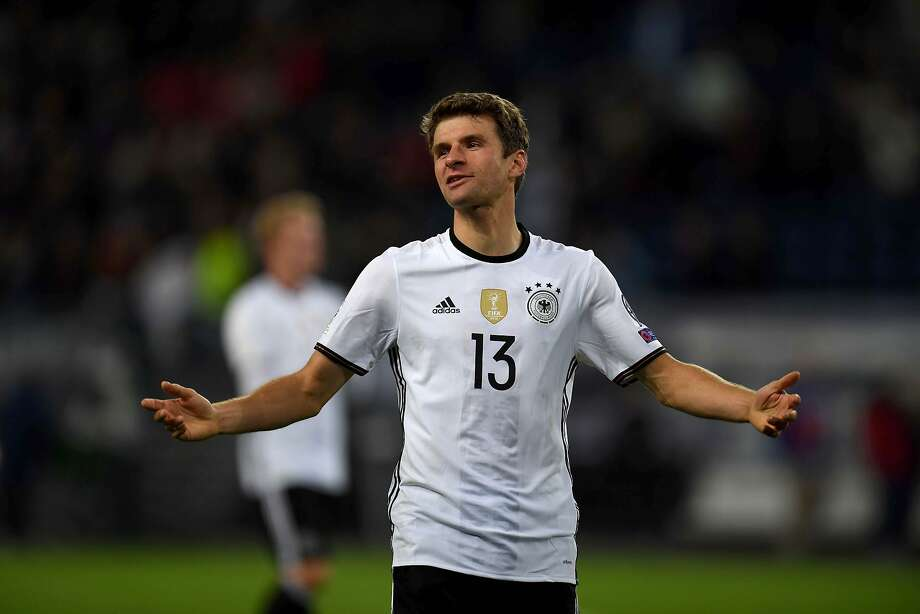 "Germany's Thomas Mueller seems to say ""nuthin' to it"" after scoring twice against the Czech Republic. Photo: PATRIK STOLLARZ, AFP/Getty Images"