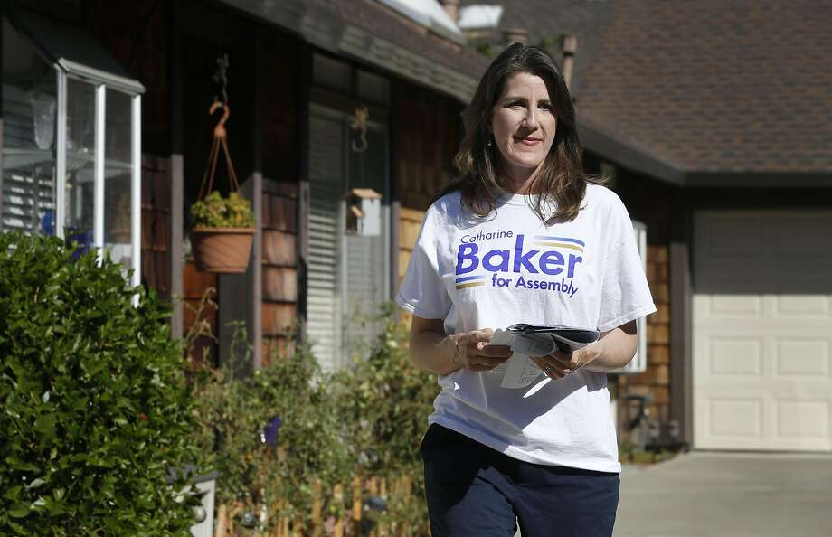 Republican Assemblywoman Catharine Baker campaigning in Pleasanton in October. Photo: Paul Chinn, The Chronicle