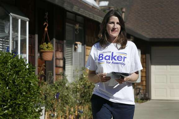 Republican Assemblywoman Catharine Baker campaigns for re-election to her District 16 seat in Pleasanton, Calif. on Saturday, Oct. 8, 2016.
