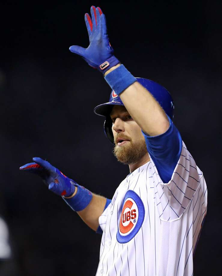 Chicago Cubs' Ben Zobrist celebrates his RBI single in 1st inning against San Francisco Giants' Jeff Samardzija during Game 2 of the National League Division Series at Wrigley Field in Chicago. IL, on Saturday, October 8, 2016. Photo: Scott Strazzante, The Chronicle