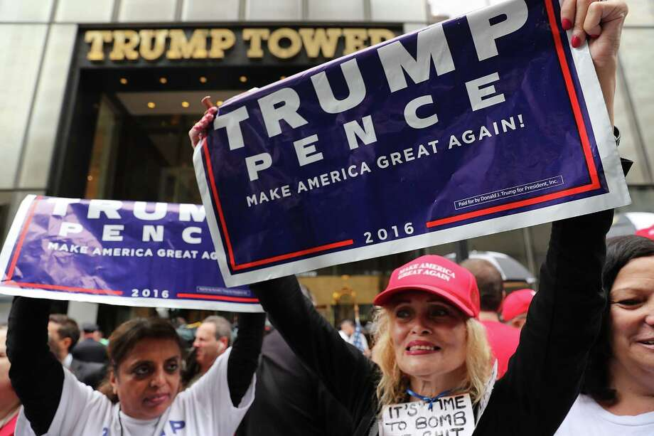 Women show their support for Donald Trump Saturday outside of Trump Towers in Manhattan. Photo: Spencer Platt, Staff / 2016 Getty Images