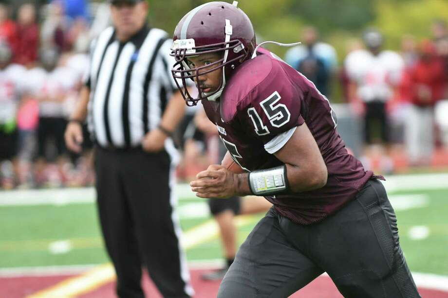 Watervliet's Shawn Wellington intercepts a pass and runs 43 yards for a touchdown during their football game against Chatham on Saturday, Oct. 8, 2016, at Watervliet High in Watervliet, N.Y. Watervliet wins 27-13. (Cindy Schultz / Times Union) Photo: Cindy Schultz / Albany Times Union