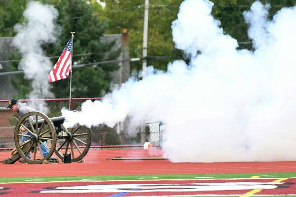 Jim Verhagen fires the canon when Watervliet scores a touchdown during their football game against Chatham on Saturday, Oct. 8, 2016, at Watervliet High in Watervliet, N.Y. (Cindy Schultz / Times Union)