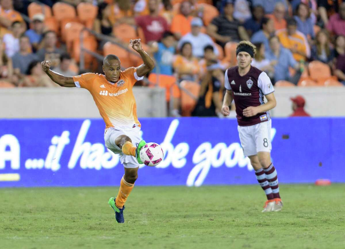 Ricardo Clark (13) of the Houston Dynamo gains control of a loose ball in the first half against the Colorado Rapids in an MLS game on Saturday, October 8, 2016 at BBVA Compass Stadium in Houston Texas.
