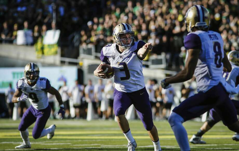 Best: The PointChris Petersen would probably hate that this is number one on our list, but come on: Jake Browning pointing at an Oregon defender with no chance to stop him from scoring the first touchdown of the Dawg's 2016 beatdown of the Ducks is iconic. Oregon had won 12 straight in the series, but one finger from Browning made it clear that the Huskies weren't going to let the streak go to 13.  Photo: Thomas Boyd/AP