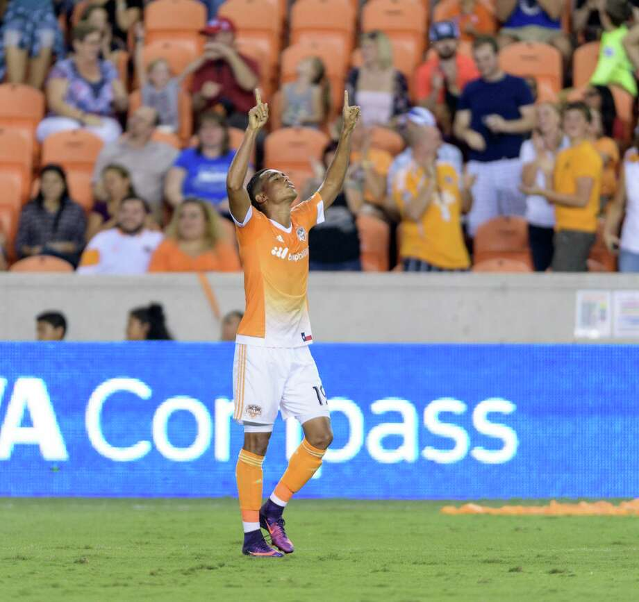 Mauro Manotas (19) of the Houston Dynamo celebrates after his goal tied the Colorado Rapids 1-1 in the first half of an MLS game on Saturday, October 8, 2016 at BBVA Compass Stadium in Houston Texas. Photo: Wilf Thorne, For The Chronicle / © 2016 Houston Chronicle