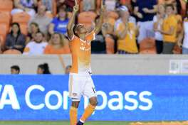 Mauro Manotas (19) of the Houston Dynamo celebrates after his goal tied the Colorado Rapids 1-1 in the first half of an MLS game on Saturday, October 8, 2016 at BBVA Compass Stadium in Houston Texas.