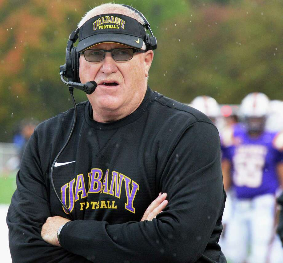 UAlbany Head coach Greg Gattuso on the sidelines during Saturday's game against Richmond at Casey Stadium Oct. 8, 2016 in Albany, NY.  (John Carl D'Annibale / Times Union) Photo: John Carl D'Annibale / 20038302A