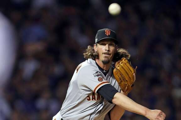 San Francisco Giants' Jeff Samardzija throws to first base in 1st inning against Chicago Cubs during Game 2 of the National League Division Series at Wrigley Field in Chicago. IL, on Saturday, October 8, 2016.