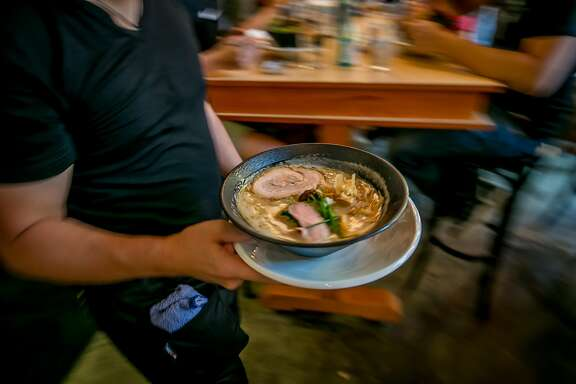 Ramen being brought to tables at Mensho Ramen in San Francisco, Calif. on October 8th, 2016.