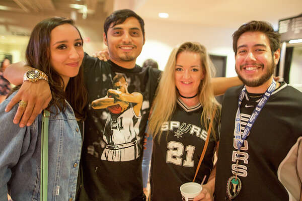 Spurs fans got back into the routine cheering on the Spurs when they packed the AT&T Center Saturday night, Oct. 8, 2016, to watch the Spurs beat the Hawks.