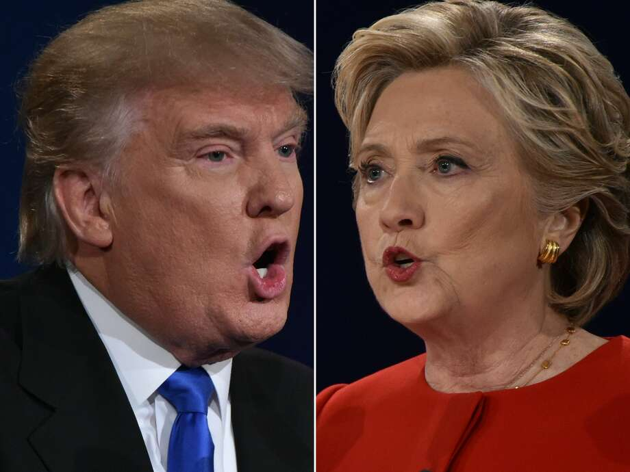 In this Combination of pictures taken on September 26, 2016, Republican nominee Donald Trump and Democratic nominee Hillary Clinton face off during the first presidential debate at Hofstra University in Hempstead, New York. Photo: PAUL J. RICHARDS/AFP/Getty Images