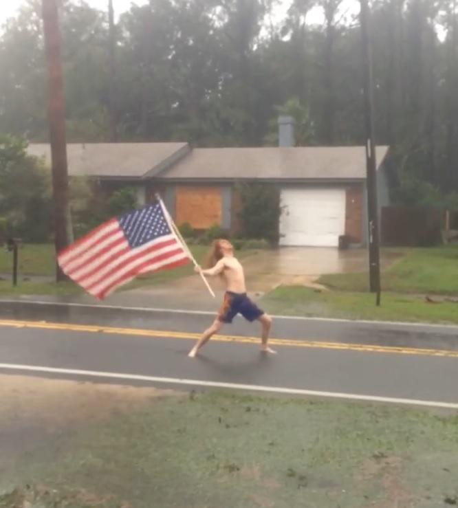 Government Shutdown S Saddest Photo Goes Viral: Shirtless Rocker Takes On Hurricane Matthew In Headbanging