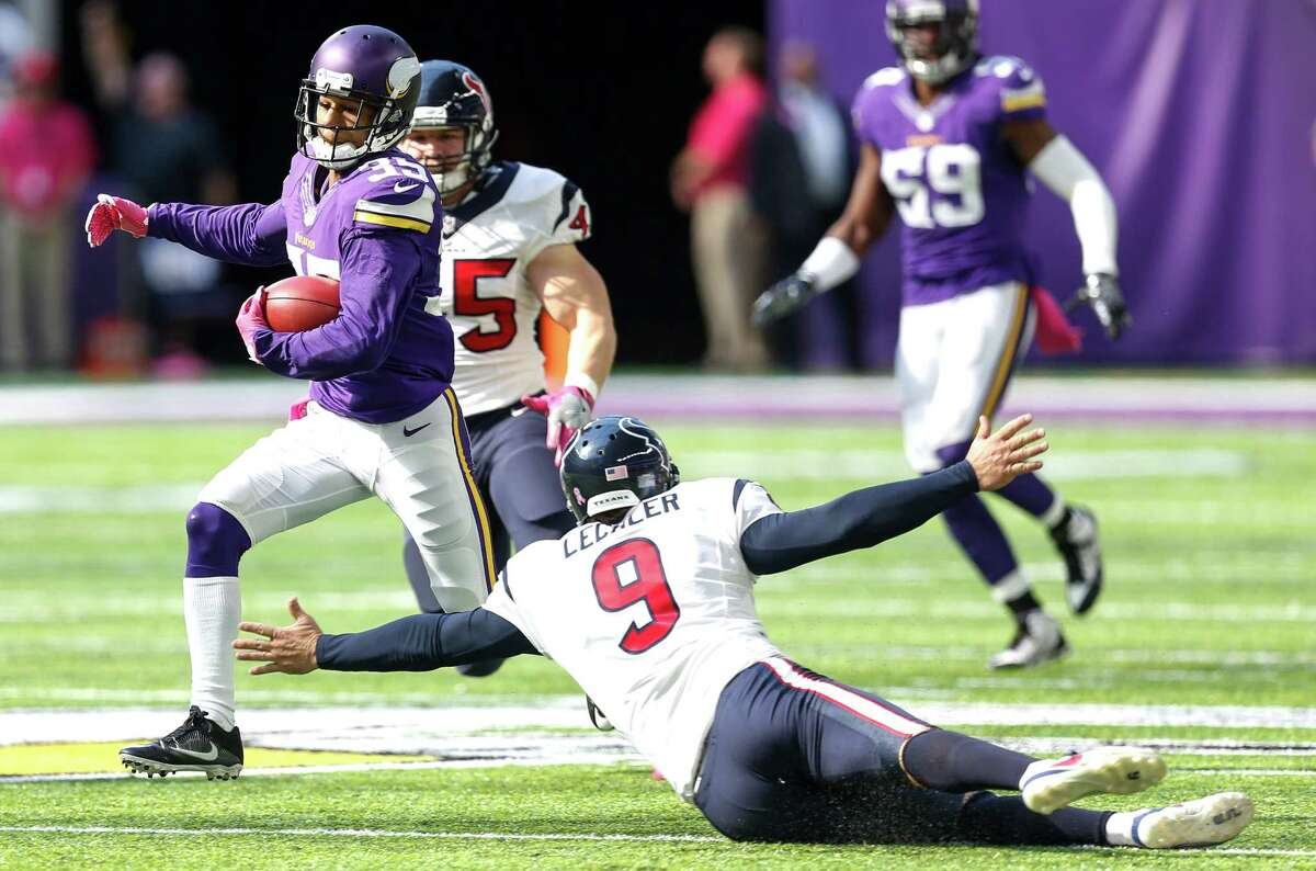 Minnesota Vikings cornerback Marcus Sherels (35) cuts back across the feild past Houston Texans punter Shane Lechler (9) on his way to a 79-yard punt return for a touchdown during the second quarter of an NFL football game at U.S. Bank Stadium on Sunday, Oct. 9, 2016, in Minneapolis.