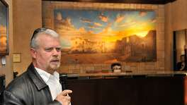 Artist Mark Lemon discusses his 12-by-6-foot painting of the Alamo after it was unveiled at the Emily Morgan Hotel in 2012.