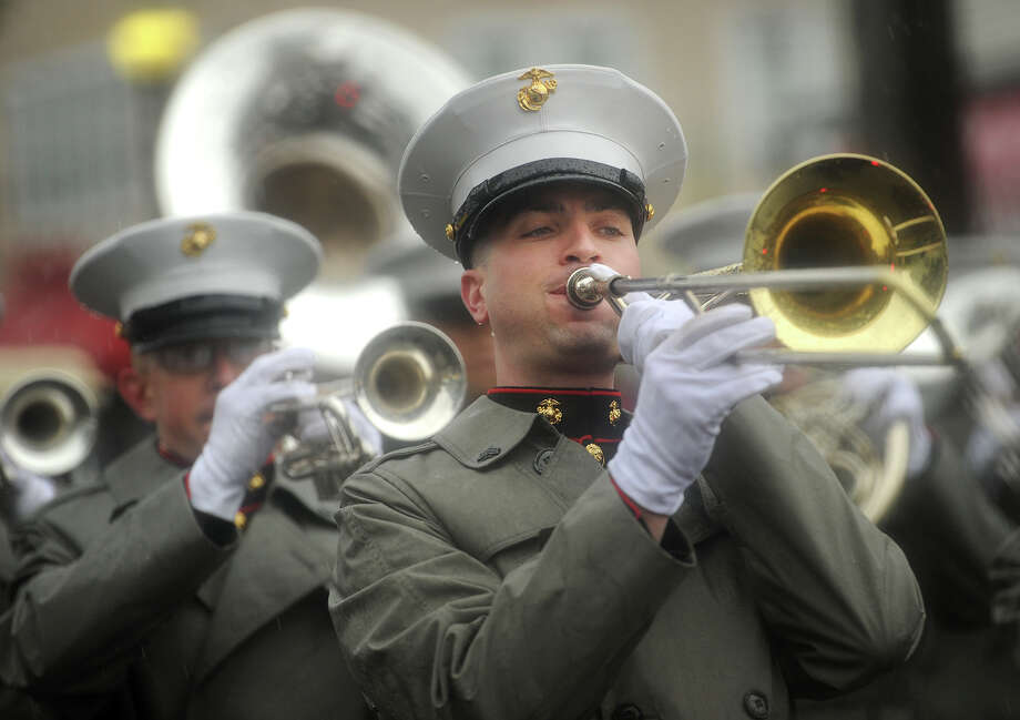 The Marine Corps Band from Quantico, Virginia performs during the 108th Columbus Day Parade on Madison Avenue in Bridgeport, Conn. on Sunday, October 9, 2016. Unfortunately a steady rain kept all but the hardiest parade goers away. Photo: Brian A. Pounds, Hearst Connecticut Media / Connecticut Post