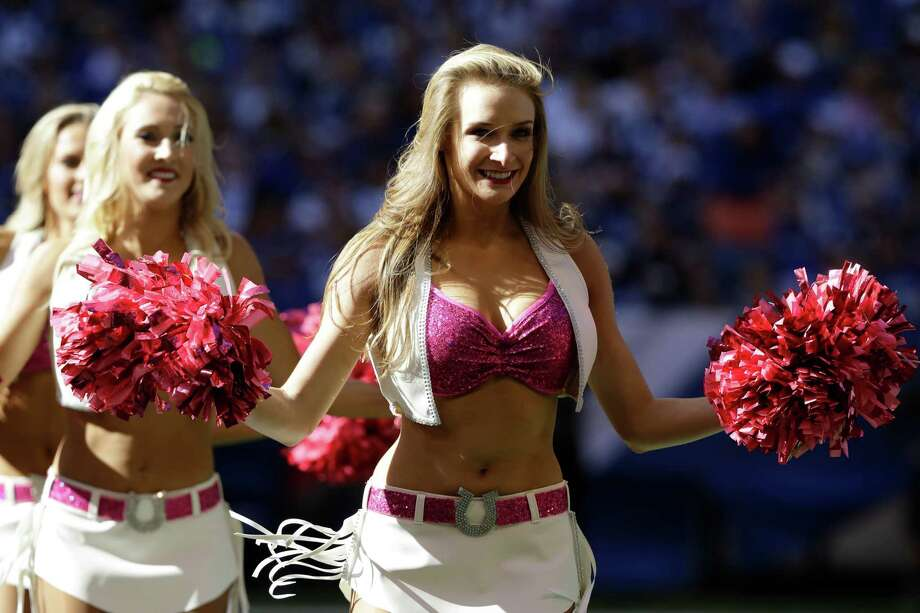 The Indianapolis Colts cheerleaders perform wear pink in support of Breast Cancer Awareness Month during the second half of an NFL football game between the Indianapolis Colts and the Chicago Bears in Indianapolis, Sunday, Oct. 9, 2016. (AP Photo/Darron Cummings) Photo: Associated Press / AP