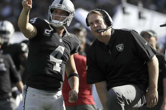 Oakland Raiders quarterback Derek Carr (4) and head coach Jack Del Rio watch a replay during the second half of an NFL football game against the San Diego Chargers in Oakland, Calif., Sunday, Oct. 9, 2016. (AP Photo/Marcio Jose Sanchez)