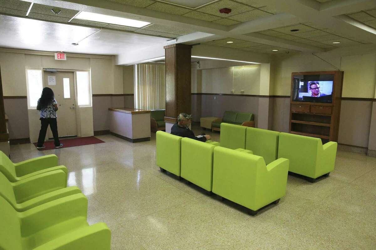 Mod furniture occupies the lobby of an older residential area as 80 percent of buildings at the State Hospital in San Antonio are considered to be in critical condition on July 21, 2016.