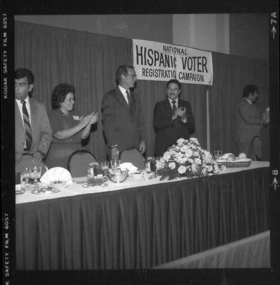 Willie Velasquez, founder and president of the Southwest Voter Registration Education Project, with President George H.W. Bush. Courtesy of SVREP Photo: Courtesy