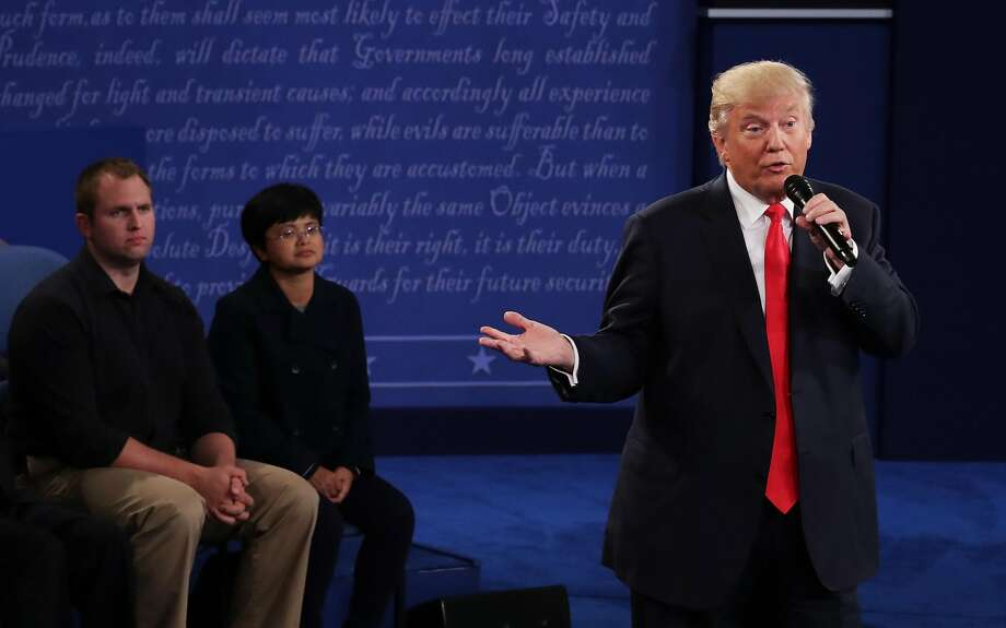 Donald Trump responds to a question during the town hall debate. Photo: Chip Somodevilla, Getty Images