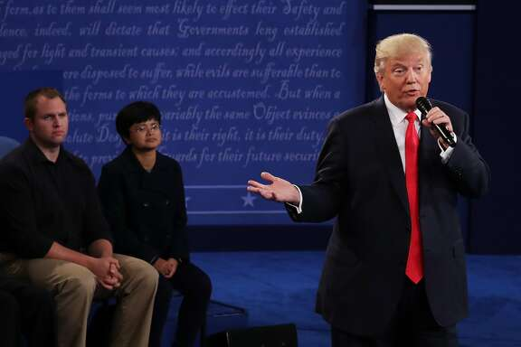 ST LOUIS, MO - OCTOBER 09:  Republican presidential nominee Donald Trump responds to a question during the town hall debate at Washington University on October 9, 2016 in St Louis, Missouri. This is the second of three presidential debates scheduled prior to the November 8th election.  (Photo by Chip Somodevilla/Getty Images)