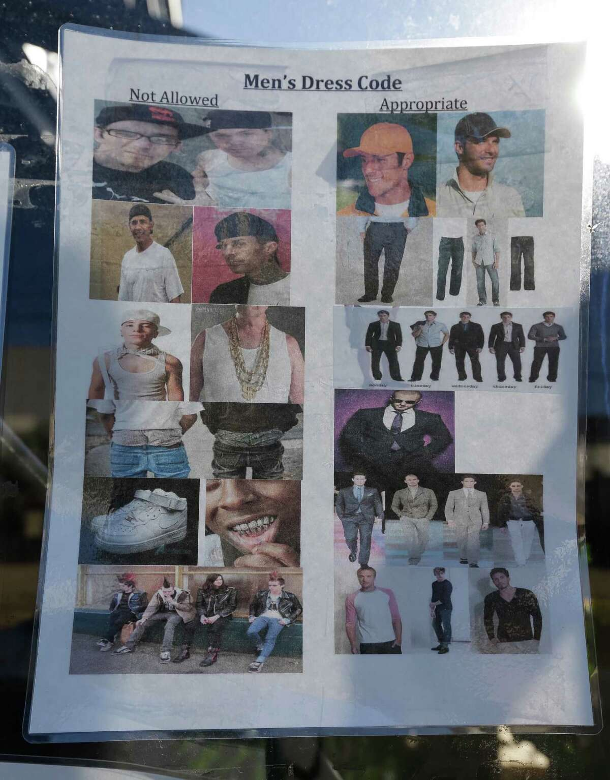A sign showing a men's dress code is displayed outside a night club called 360 Midtown, 2400 Brazos Street, Friday, Oct. 7, 2016. Formerly known as Gaslamp, the club is facing a federal lawsuit alleging discrimination against black, Hispanic, and Asian patrons, requiring them to pay cover charges and turning them away under the guise of a dress code. ( Melissa Phillip/ Houston Chronicle)