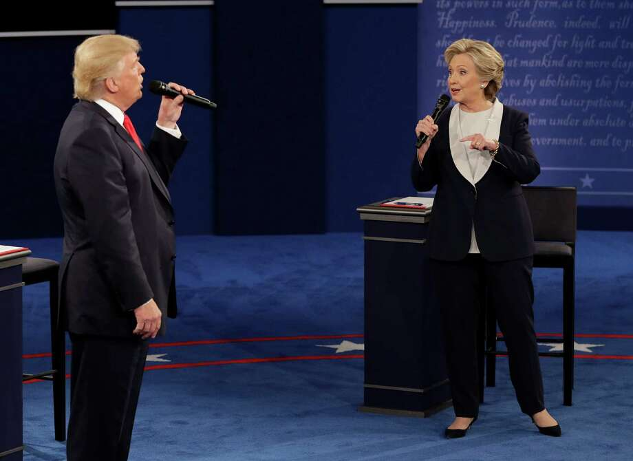 Donald Trump and Hillary Clinton spent much of Sunday night's second debate in St. Louis sparring. Photo: John Locher, STF / Copyright 2016 The Associated Press. All rights reserved.