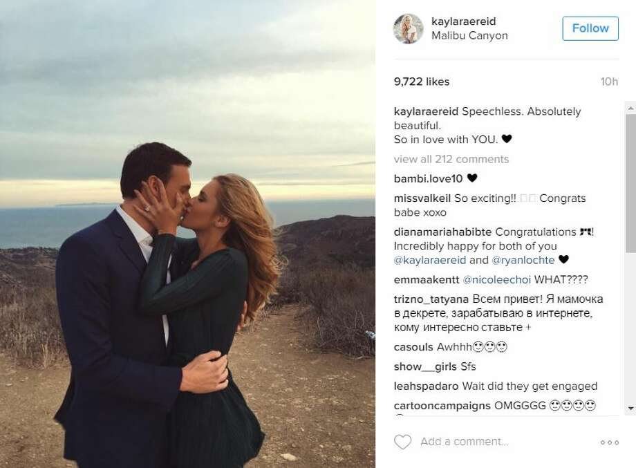 Swimmer Ryan Lochte proposes to former Playboy model Kayla Rae Reid in this photo shared on Instagram. Photo: Instagram Screenshots