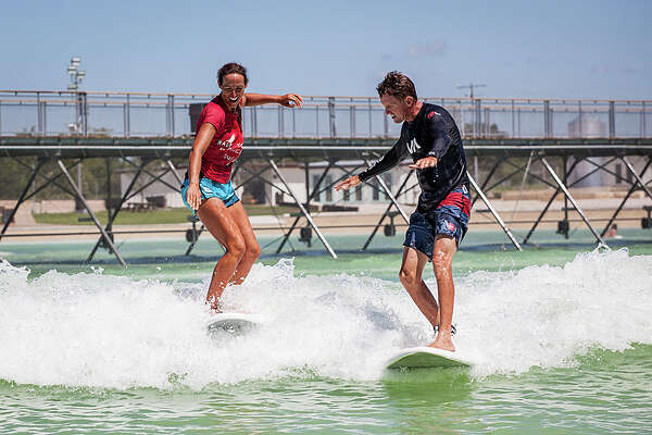 "An Austin-based company opened what they call ""America's first surf park,"" a lagoon that creates artificial waves of different sizes. Oct. 4, 2016."