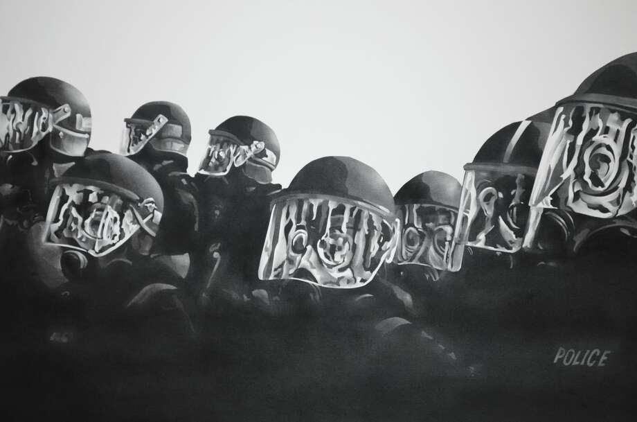 """Shield: Intractable Conflict 3,"" a graphite, pigment on paper creation by renowned artist Ryder Richards, is one of the many featured art works that will be on display during Laredo Community College's latest exhibit, ""a thing of this world."" The exhibit will be unveiled during an opening reception on Thursday, Jan. 21 from 4:30 to 6:30 p.m. in the Martha Fenstermaker Memorial Visual Arts Gallery located inside the Visual and Performing Arts Center at the LCC Ft. McIntosh Campus. Admission is free and open to the public."