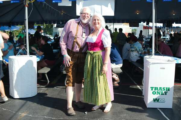 Bob and Margit Patterson show off their traditional German attire at King's Biergarten Oktoberfest Saturday, Oct. 8.