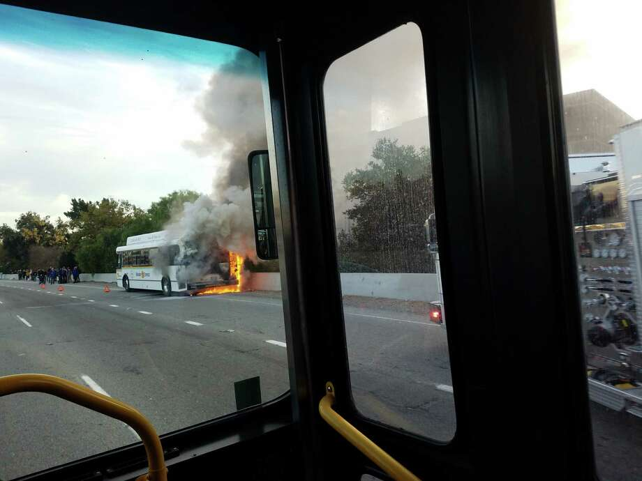 Richard Masoner, who was on another bus, snapped photos of a bus that had caught fire on Highway 17 on Monday morning. Photo: Richard Masoner / Courtesy