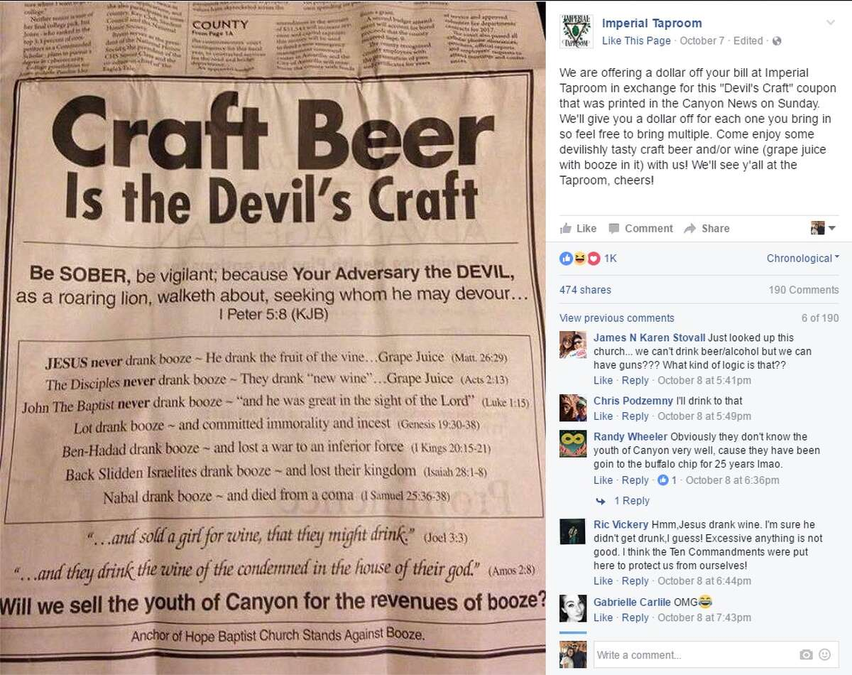 """Imperial Taproom: """"We are offering a dollar off your bill at Imperial Taproom in exchange for this 'Devil's Craft' coupon that was printed in the Canyon News on Sunday. We'll give you a dollar off for each one you bring in so feel free to bring multiple. Come enjoy some devilishly tasty craft beer and/or wine (grape juice with booze in it) with us! We'll see y'all at the Taproom, cheers!"""""""