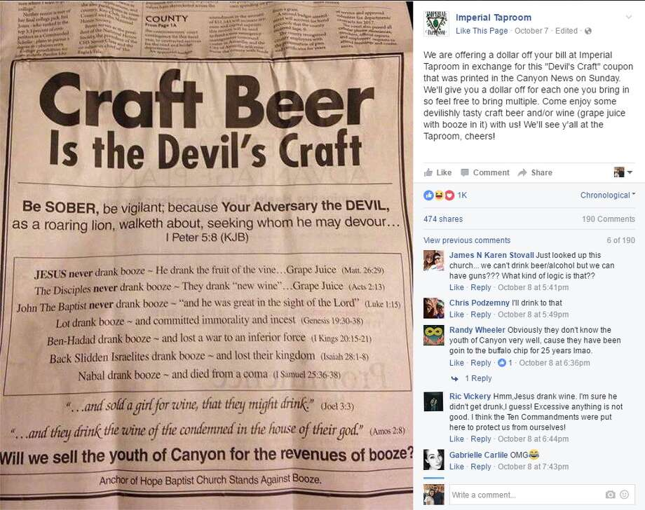 "Imperial Taproom: ""We are offering a dollar off your bill at Imperial Taproom in exchange for this 'Devil's Craft' coupon that was printed in the Canyon News on Sunday. We'll give you a dollar off for each one you bring in so feel free to bring multiple. Come enjoy some devilishly tasty craft beer and/or wine (grape juice with booze in it) with us! We'll see y'all at the Taproom, cheers!"" Photo: Courtesy/Facebook"