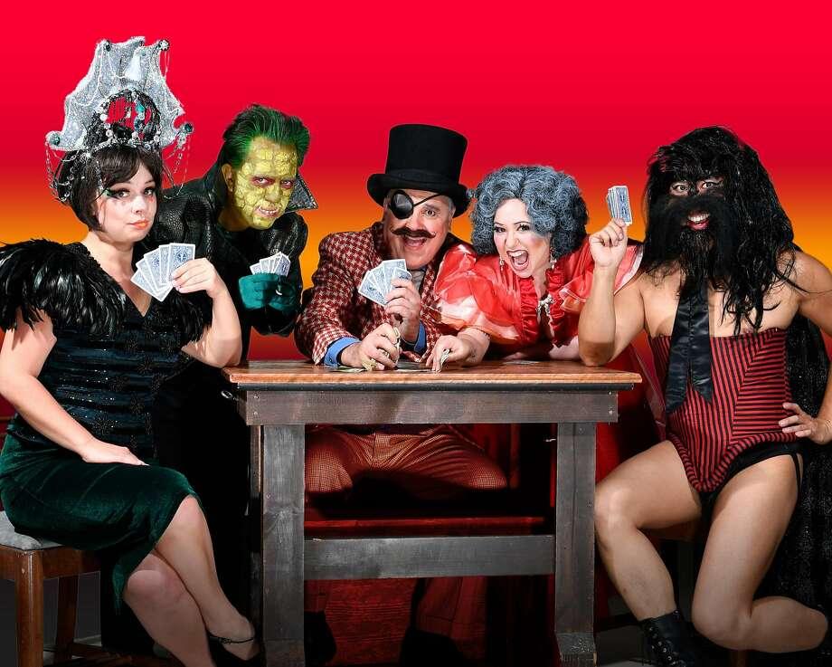 "Natalie Demchenko (left), Eric Johnson, CJ Smith, Zelda Koznofski and Cameron Eng in Thrillpeddlers' ""Shocktoberfest 17: Pyramid of Freaks."" Photo: David Allen, Thrillpeddlers"