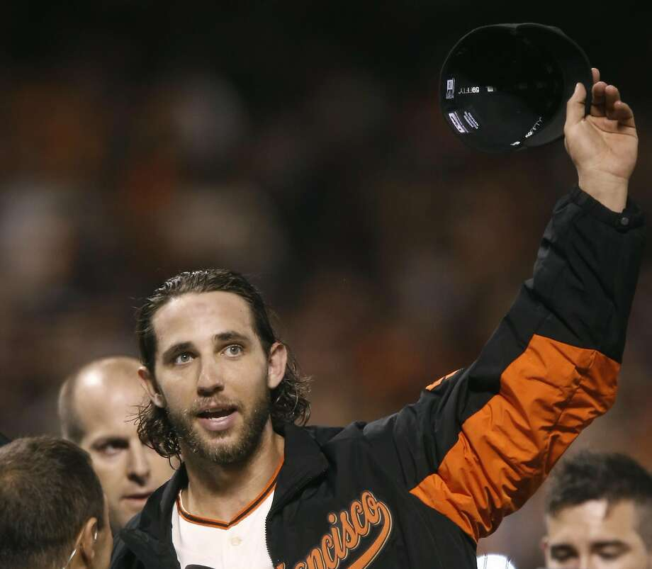 Madison Bumgarner acknowledges the crowd after shutting out the Royals in Game 5 of the 2014 World Series, his most recent postseason appearance at AT&T Park. Photo: Michael Macor, The Chronicle