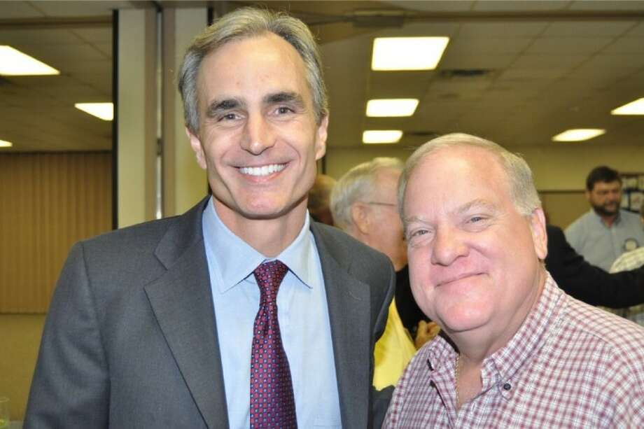 Pasadena Rotary's Guest Speaker, David Gow (L) is greeted by Rotarian Charles Anders. Mr. Gow is the CEO of Gow Sports Media here in Houston. His company is made up of three venues ESPN 97.5, YSR 1560 and Yahoo Sports Radio. Through this powerhouse of primary assets, all major sports events are covered including the Astros, Dallas Cowboys, Houston Texans, Rice Owls, Houston Cougars plus major events in the LPGA and USGA. Photo: BILL WELCH