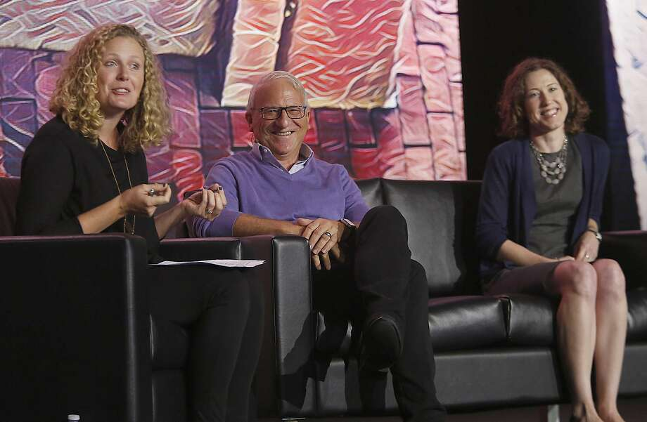 Natalie Foster (left), Andrew Stern and Elizabeth Rhodes speak at the Next:Economy conference in S.F. Photo: Liz Hafalia, The Chronicle