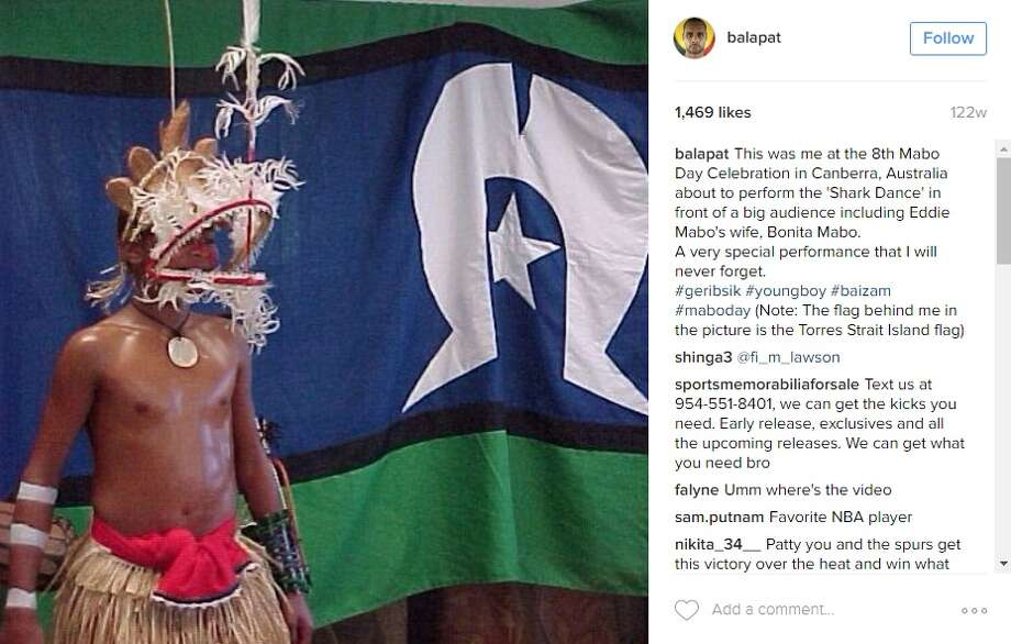 "Patty Mills the dancing machine  The Bala shared an Instagram photo of himself in costume, as he prepared to perform the ""Shark Dance"" at the 8th Mabo Day Celebration in his native Australia.  Photo: Instagram.com/Twitter.com"