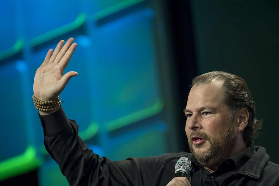 Marc Benioff, Salesforce CEO and a member of the forum's board, touts the Center for the Fourth Industrial Revolution. Photo: David Paul Morris, Bloomberg